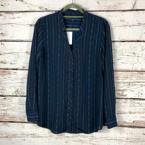 NWT BR Navy Split Collar Button Down Blouse M
